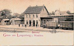 Ansichtskarte von Langenberg von vor 1900 mit Blick auf den Bahnhof