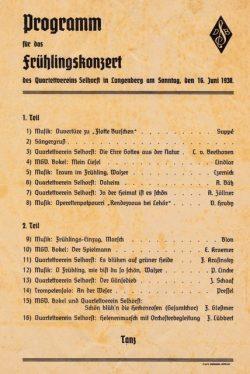 Programm zum Frühlingskonzert von 1938